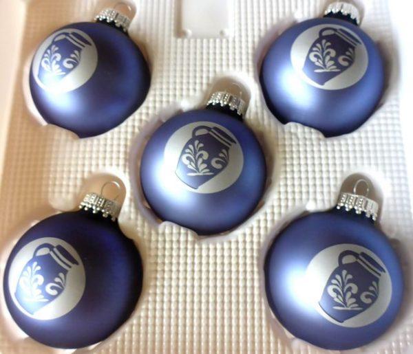 Blaue Bembel Weihnachtskugeln #Weihnachtsmarkt #Frankfurt