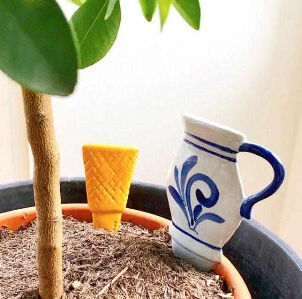 Blumentopf Deko - Bembel und Geripptes Glas